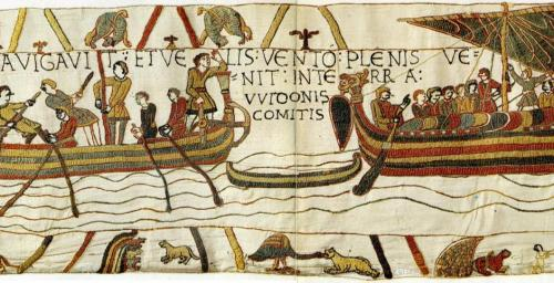 En route from France to England: a detail from the Bayeux Tapestry (Wikimedia Commons)