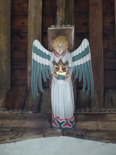 An angel above our heads at South Creake church.