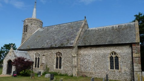St. Mary's, Burnham Deepdale, with its Saxon round tower.