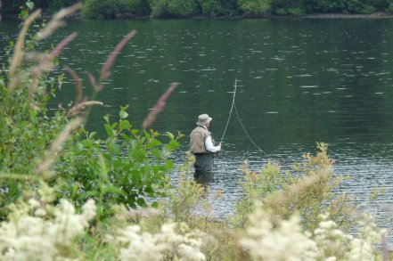 Fishermen don't seem to mind the weather.