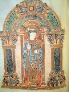 Swithun, Benedictional of St. Æthelwold, Winchester, 10th century, British Library (Wikimedia Commons)