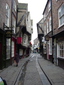 The Shambles, once the street where all the butchers were, now a tourist Mecca. Wikimedia Commons.