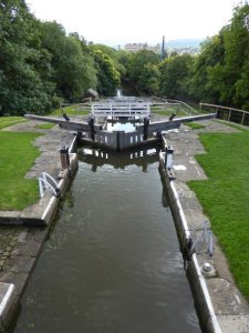 All five of the Five Rise locks at Bingley.