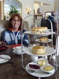 Christine and a plate of Bett's scones.