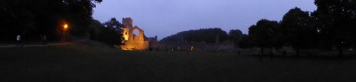 Darkness falls at Fountains Abbey.