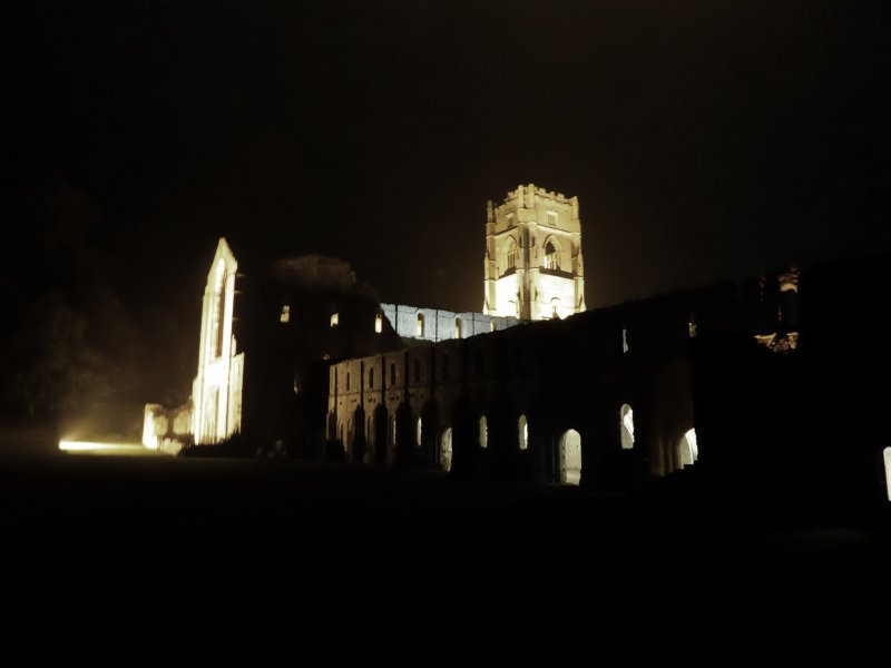 Fountains Abbey by night,