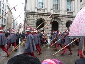 Haberdiers accompany the Lord Mayor.