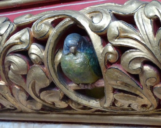 Burges famously loved animals. There are 16 of thse parrots.
