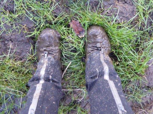 Muddy boots.