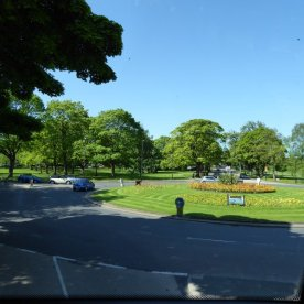 Hurtling towards a roundabout in Harrogate.