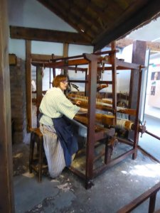 Here's pre-industrial weaving. These looms were a big investment for a family, but offered year-round employment.
