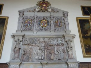 Wise and foolish virgins adorn a Jacobean hearth.....