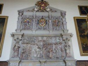 Wise and foolish virgins adorn a Jacobean hearth.....