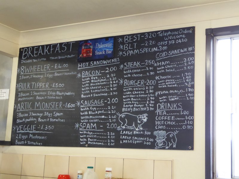 The unchanging menu at the greasy spoon.
