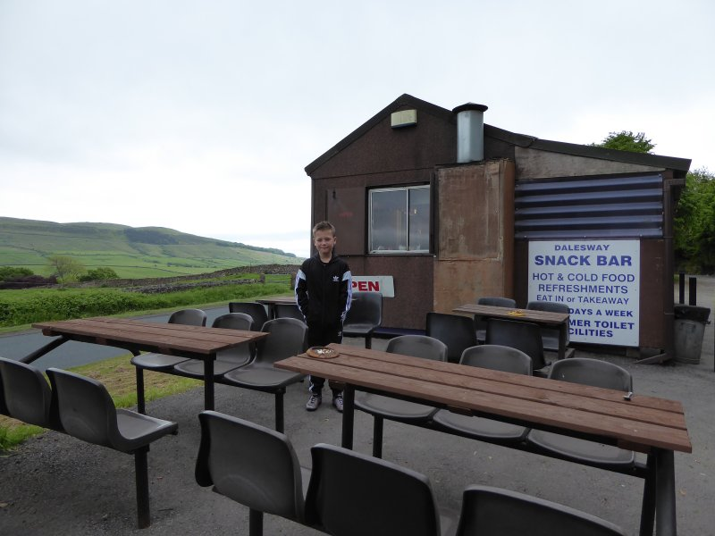 Here we are.  Open dining at the Dalesway caff.  Only it was way too cold.  Everyone was inside that day in the fuggy warmth.