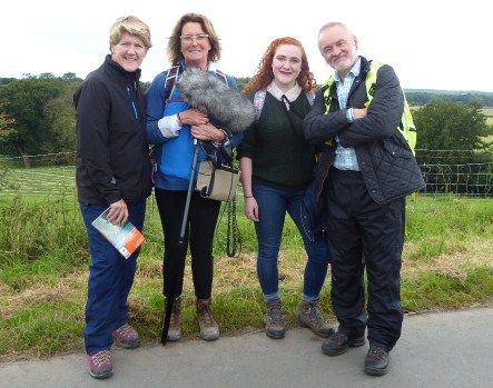 Clare Balding, Lucy Lunt, Helen Antrobus and Robert Coll in the steps of the jarrow Marchers.