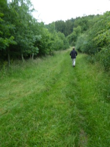 Clare strides away into the woods.