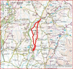 Here's our route, as shown on the OS map.