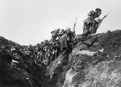 Going over the top, Battle of the Somme (Ivor Castle, Imperial War Museum, via Wikimedia Commons)