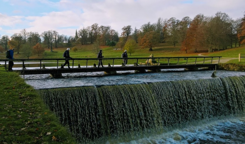 Home straits. Crossing the weir at Studley Royal.