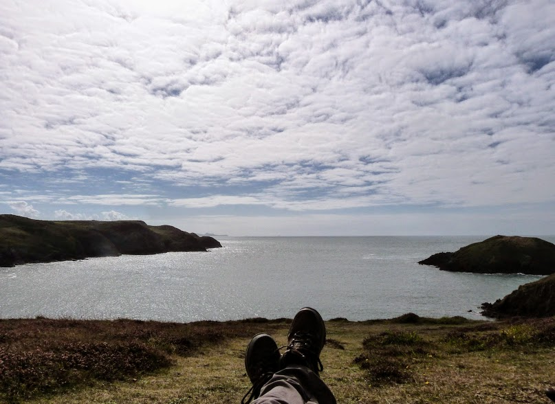 A moment of relaxation on the Pembrokeshire Coastal Path.