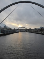 The Tyne Bridge seem from the Millennium Bridge.