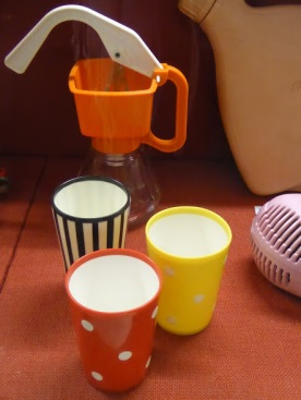 A 1960s cream maker (milk and butter required) with contemporary beakers.