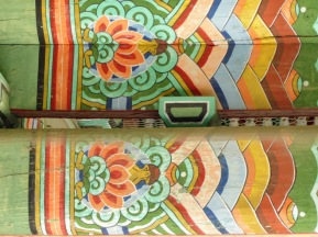Decorated roof joists.