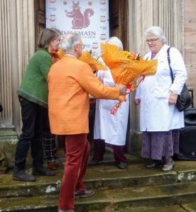The judges of 2000 pots of marmalade get their reward.