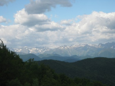 Views from le Cap du Carmil in June. Still snowy on the peaks.