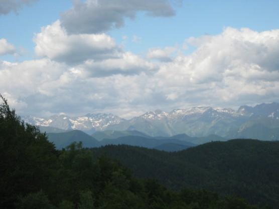 Views from le Cap du Carmil in June. Still snowy on the peaks.