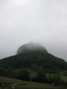 Montségur, our nearby landmark and Cathar stronghold, one misty morning in July.