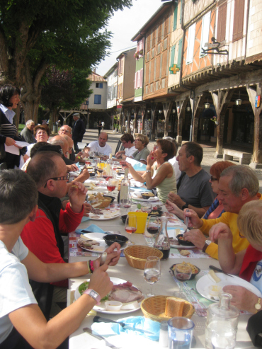 Another much missed treat. Shared meals in the sunshine, with old friends and new. This is in Mirepoix.