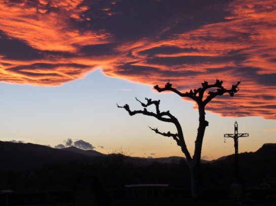 One super-dramatic sunset at Laroque d'Olmes.