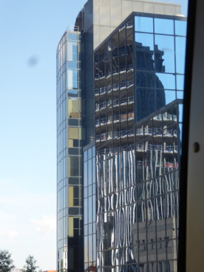 Office buildings along the DLR route.