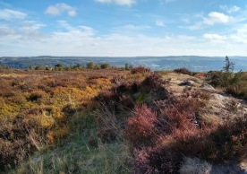 Views from the heather moorland near the Nine Ladies. We're by a Bronze Age cairn