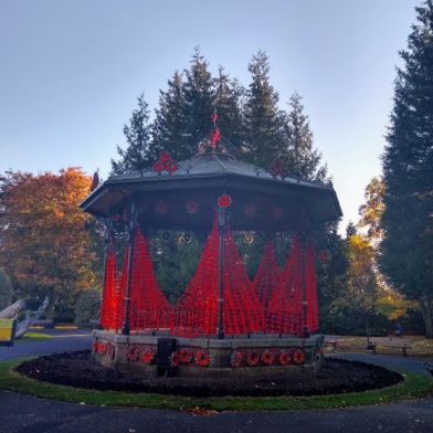 The bandstand in the park.