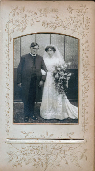 Charles and Annie's wedding in 1910: from a family album.