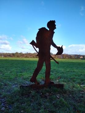 Walking across fields at Hell Wath, Ripon.