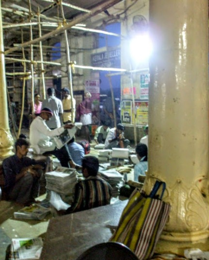Collating newspapers at Thanjavur Station