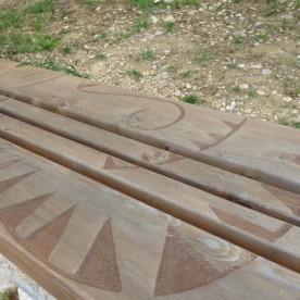 A local craftsman, Lamande, has made the seating that adds to the site's interest and charm.