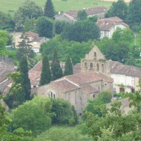 The village and church of Teilhet seen from above.
