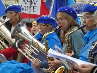Let us be Heard! The Yorkshire Remain Voice Choir and Band at the People's Vote March, October.