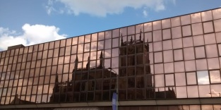 Hull Minster, reflected in a nearby office building.