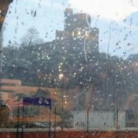 Edinburgh Castle from the train in Waverley Station.