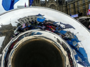 Mark's tuba is centre stage in one of North Yorkshire for Europe's demonstrations outside the Houses of Parliament in the days when we still hoped to remain in the EU.
