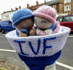 There's always a yarn- bombing display in the Market Place in Thirsk. This one celebrated the NHS.