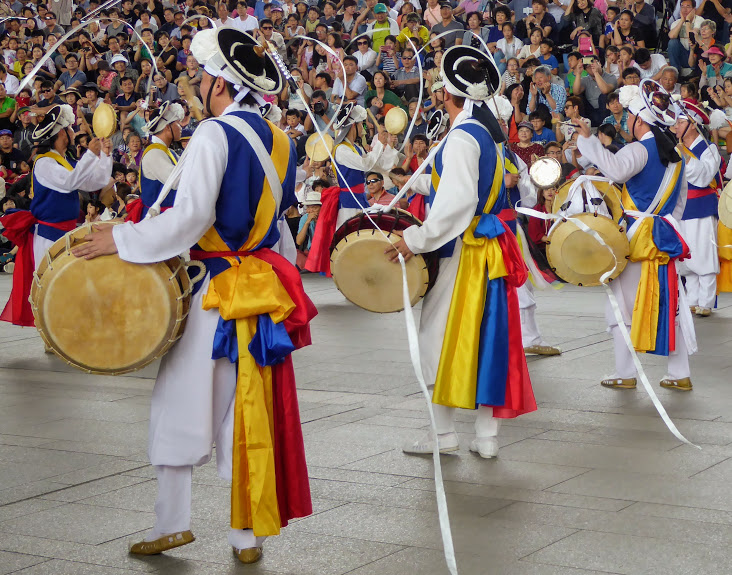 Traditional drumming for Chuseok, the big family festival in Korea.