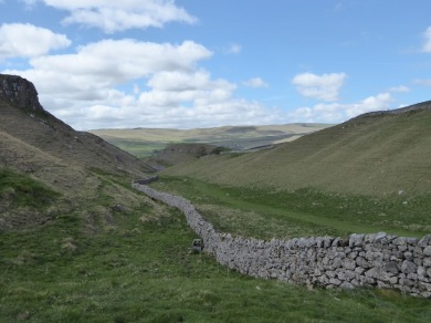 A drystone wall near Grassington picks out our route.