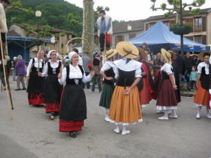 Basque dancers in red and white ...